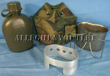 4 Pc Military 1 QT CANTEEN KIT w Woodland COVER & STAINLESS CUP, STOVE USGI NEW