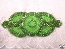 0369 ~ LIME GREEN TRIPLE CIRCLE BEADED SEQUIN APPLIQUE