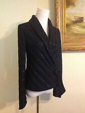 St John Santana Knit Black Sequins Wrap Sash Jacket Size 4 6 Very Good Condition