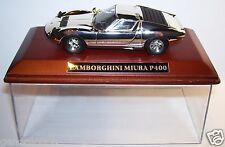 IXO MODEL CHROME DORE ARGENT SOCLE BOIS 1/43 BOX LAMBORGHINI MIURA P400