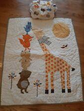 Land Of Nod Woodland Animal Baby Nursery Crib Bedding Quilt and Bottom Sheet
