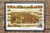 Vintage Harrisburg, PA Map 1855 - Historic Pennsylvania Art Victorian Industrial