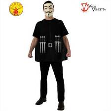 Licensed V for Vendetta Costume Print Shirt Black Cape Mask Halloween Men Adult