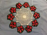 Vintage hand crocheted White doily 15 inch With Outer Ring of Red Green Flowers