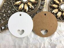 10 Kraft Gift Swing Tags CIRCLE HEART Wedding favour Bomboniere Christen