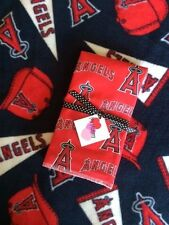 Fleece Blanket & Burp Cloth made with Anaheim Angels Fabric for Baby Boy Girl