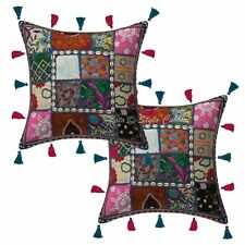 Cotton Patchwork Kodi Tassels Handmade Pillow Cases 16 x 16 Indian Cushion Cover