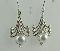 Freshwater Pearls 925 Solid Sterling Silver Handmade Dangle Drop Earrings