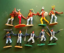 timpo toys. Nordistes et indiens. 10 soldats complets. Lot 10 TIMNI.