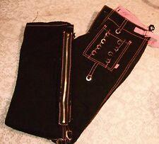 Daang Goodman Tripp Jeans Women's Black Flannel Pink Trim Size 9