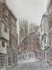 Vintage Hand Tinted Print Signed Donald A. Heald Petergate, York, c. 1960