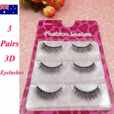 3 Pairs Natural Long Thick Soft Fake False Eyelashes Handmade Extensions Makeup