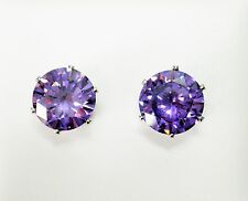 8mm Purple Round Crystal & Silver Tone Faceted Claw Set Stud Earrings