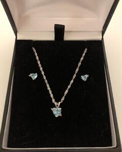 14K Solid Gold Topaz & Diamond Necklace & Earrings Set