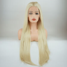 Straight Extra Long 28inch Blonde Half Hand Tied Synthetic Lace Front Wig