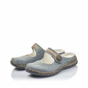 Rieker Damen Clogs Sabot Pantoffel blau jeans 46391 NEU!!