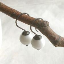 Weiße Howlith Ohrringe 925 Silber, Ohrhänger geschwärzt Sterlingsilber d599