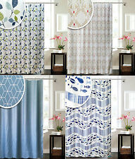 Shower Curtain Fabric Grey White Hooks Rings 180 x 180 Or 200 x 200 Extra Long