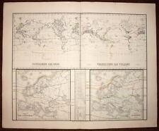 MAPPEMONDE PLANISPHERE carte geographique ancienne originale du 19eme siecle