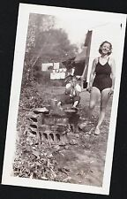 Antique Photograph Woman Bathing Suit Man Funny Face Camping Laundry on Line '48