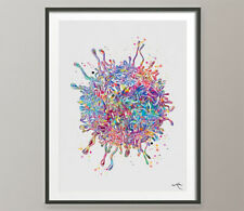 T-Cell Watercolor Print Immune Cells Medical Art immunology Cancer Chemo-1472
