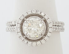 1.63 ct 18K White Gold Round Diamond Halo Engagement / Wedding Band Ring Set GIA