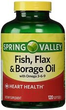 Spring Valley Fish Flaxseed Borage Oil. Omega 3,6,9. 120 Softgels