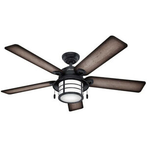 """Hunter Key Biscayne 54"""" Indoor/Outdoor Ceiling Fan w/ Light and Pull Chain, Zinc"""