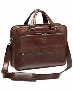 """$580 New Mancini Men's Triple Compartment Briefcase Laptop Bag Leather 15.6"""""""