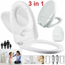 New Toilet Seat Soft Close Family Child Friendly 3IN 1 TOP & BOTTOM Hinges White