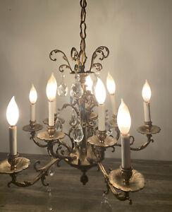 Antique /Vintage Ornate Brass Chandelier 5 Arms 10 Lights W/Teardrop Crystals