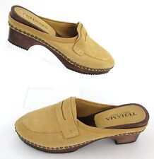 NEW! Tehama Wooden Sole Suede Moc Toe Penny Slide Camel Leather Sz 9