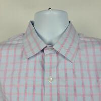Bonobos Wrinkle Free Slim Fit Pink Blue Check Mens Dress Button Shirt Size 17-36