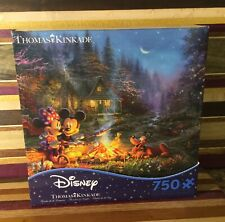 New Disney Thomas Kinkade Mickey & Minnie Sweetheart Campfire Pluto Puzzle
