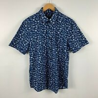 Sportcraft Mens Button Up Shirt Size S Blue Short Sleeve Collared Sealife Print