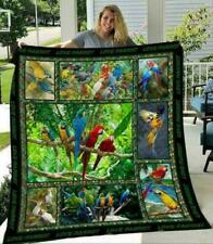 Parrot Art Collection Sofa Fleece Blanket, Quilt Blanket Made In US