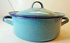 Camping Enamelware Light Blue Speckled Boiling Pot With Lid Two Handles