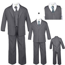 Baby Toddler Boy Dark Gray Wedding Formal Party Tuxedo Suits Checkered Tie S-20
