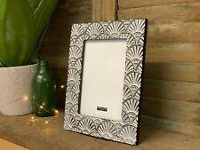 Vintage Art Deco Shell Style Grey Photo Frame Freestanding Picture Holder 5x7""