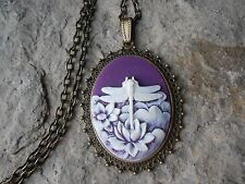 "DRAGONFLY CAMEO NECKLACE 2"" LONG (purple) BRONZE- QUALITY- BIRTHDAY, XMAS, GIFTS"