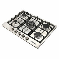 68cm Cooktops Stainless Steel Silver Built-In 5 Burner Gas Hob NG/LPG COOK TOP