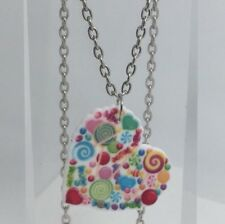 Large Cute Bright Candy Rainbow Heart Pendant Kitsch G312 Silver Necklace
