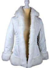 Paris Blues Outerwear Womens White Faux Fur Puffer Jacket Size M