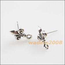 """16 New Charms Tibetan Silver Tone """"Fleur de lis"""" Wire Earrings Hooks 9x14mm"""