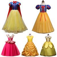 Girls Fairytale Dress Costume Belle Aurora Snow White Party Fancy Dresses 3-10 Y