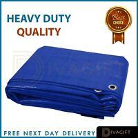 BLUE HEAVY DUTY WATERPROOF TARPAULIN TARP GROUND SHEET LIGHT WEIGHT CAMPING COV