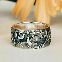 Pretty Flower & Tiny Hummingbird .925 Sterling Silver Filled Ring Size 7