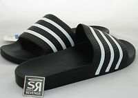New Adidas ADILETTE Slides Sandals Mens Shoes Black Beach Flip Flops adipure