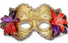 Gold Venetian Mask with Flowers Mardi Gras Masquerade