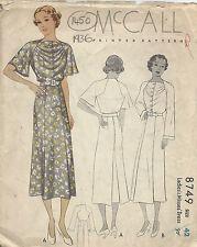 1936 Vintage Sewing Pattern B42 DRESS (1450)